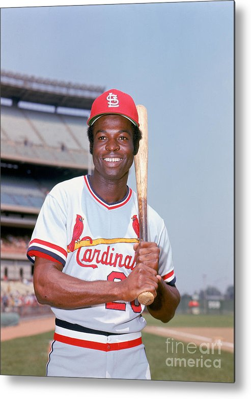 St. Louis Cardinals Metal Print featuring the photograph Lou Brock by Lou Requena