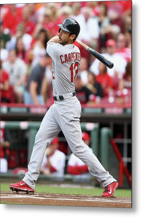 Great American Ball Park Metal Print featuring the photograph Matt Carpenter by Andy Lyons