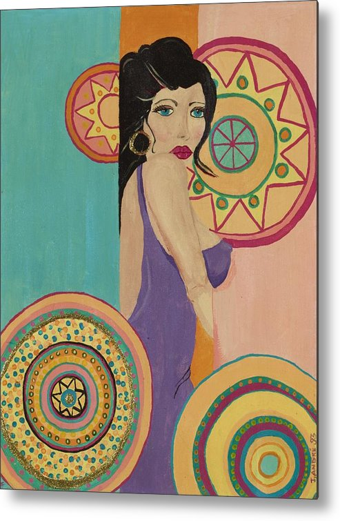 Female Metal Print featuring the painting Mexican Nights by J Andrel