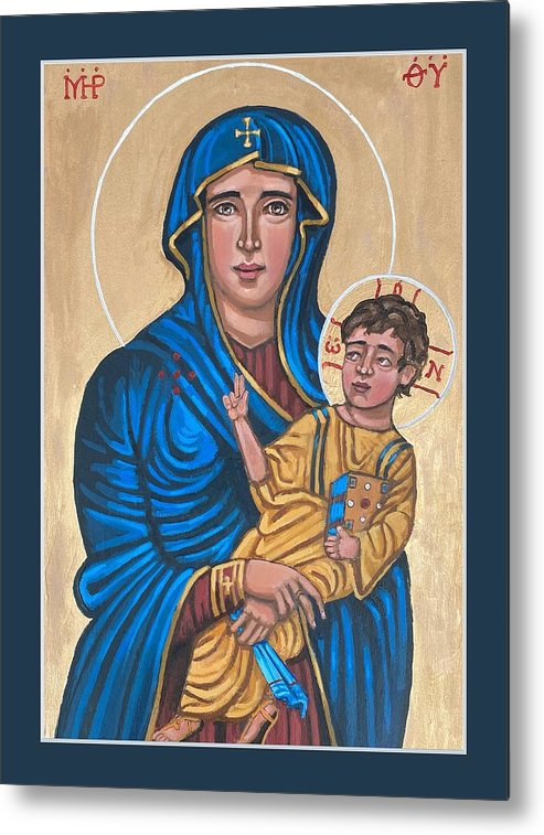 Metal Print featuring the painting Mother of God Protectress of Health by Kelly Latimore
