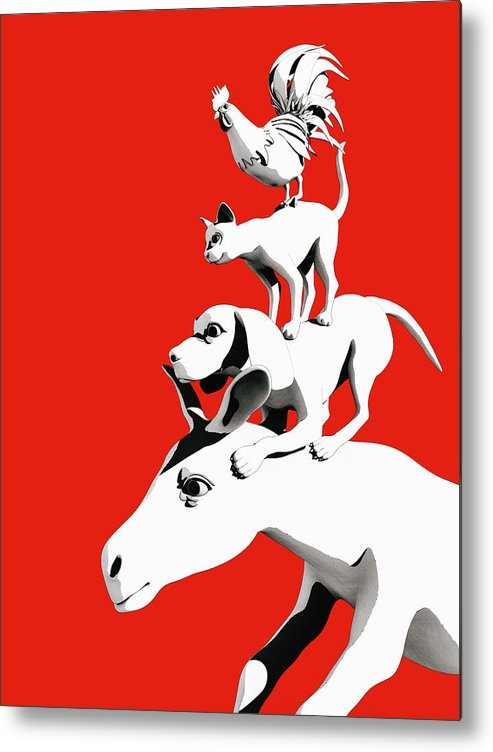 Donkey Metal Print featuring the digital art Musicians of Bremen_red by Heike Remy