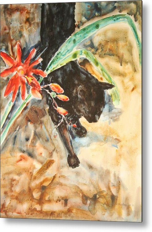Cat Flower Metal Print featuring the painting Panther With Passion Flower by Helen Hickey