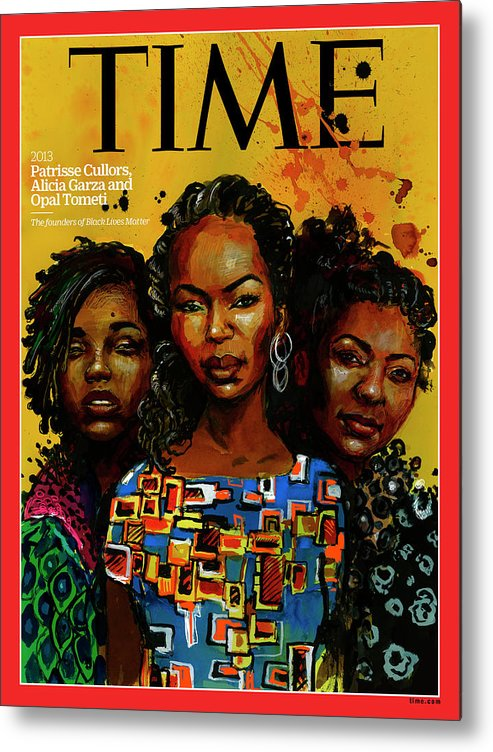 Time Metal Print featuring the photograph Patrisse Cullors, Alicia Garza, Opal Tometi, 2013 - Founders of Black Lives Matter by Illustration by Molly Crabapple for TIME