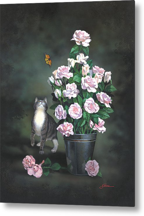 #cat Metal Print featuring the painting Playing Among The Roses by Harold Shull