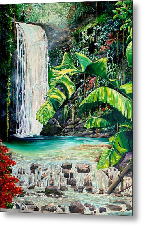 Water Fall Painting Landscape Painting Rain Forest Painting River Painting Caribbean Painting Original Oil Painting Paria Northern Mountains Of Trinidad Painting Tropical Painting Metal Print featuring the painting Rainforest Falls Trinidad.. by Karin Dawn Kelshall- Best