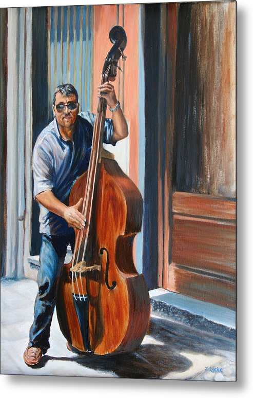 Cello Metal Print featuring the painting Riviera Rhythms- Cello Street Musician by Jennifer Lycke
