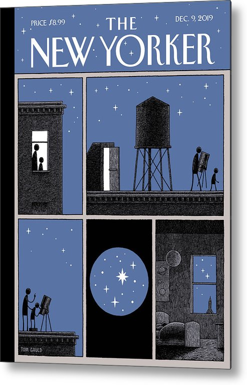 Rooftop Astronomy Metal Print featuring the drawing Rooftop Astronomy by Tom Gauld