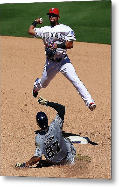 People Metal Print featuring the photograph Rougned Odor and Matt Kemp by Ronald Martinez