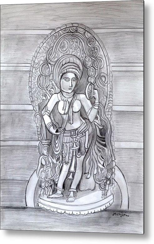 Sculpture Metal Print featuring the drawing Sculpture pencil drawing of Madanika Chennakesava temple Karnataka by Manjiri Kanvinde