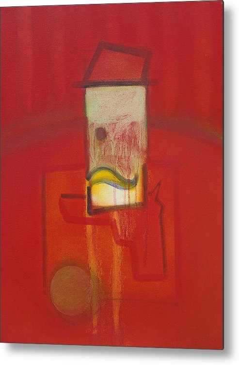 Red Metal Print featuring the painting Shadow of a Gunman by Charles Stuart