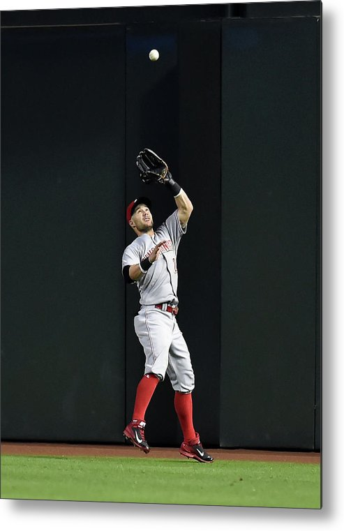 American League Baseball Metal Print featuring the photograph Skip Schumaker by Norm Hall