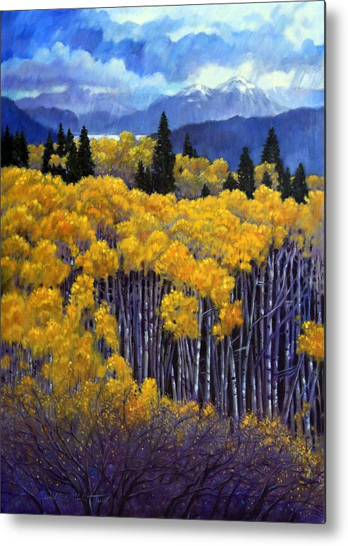 Snow Clouds Over Rocky Mountains Metal Print featuring the painting Tall Aspens by John Lautermilch