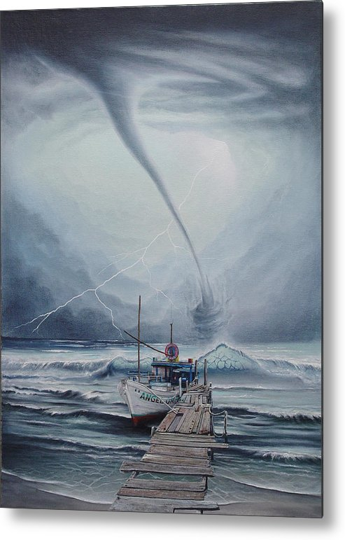 Seascape Metal Print featuring the painting Tifon   water sprout by Angel Ortiz