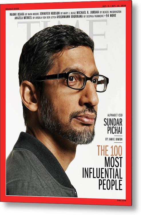 2020 Time 100 Most Influential People Metal Print featuring the photograph TIME 100 - Sundar Pichai by Photograph by Paola Kudacki for TIME