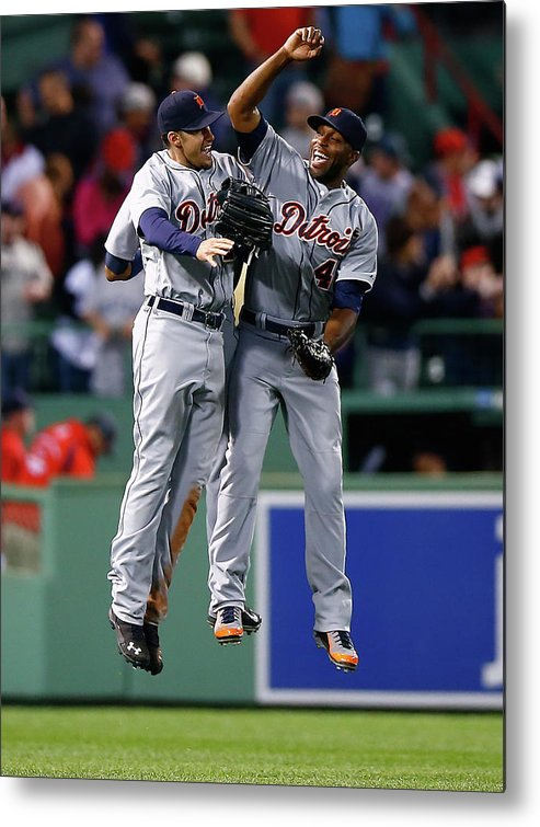 American League Baseball Metal Print featuring the photograph Torii Hunter and Austin Jackson by Jared Wickerham