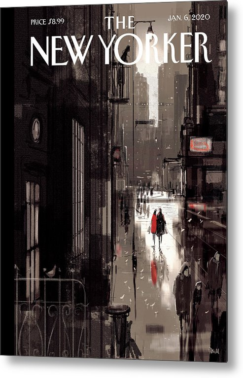Twilight Avenue Metal Print featuring the drawing Twilight Avenue by Pascal Campion
