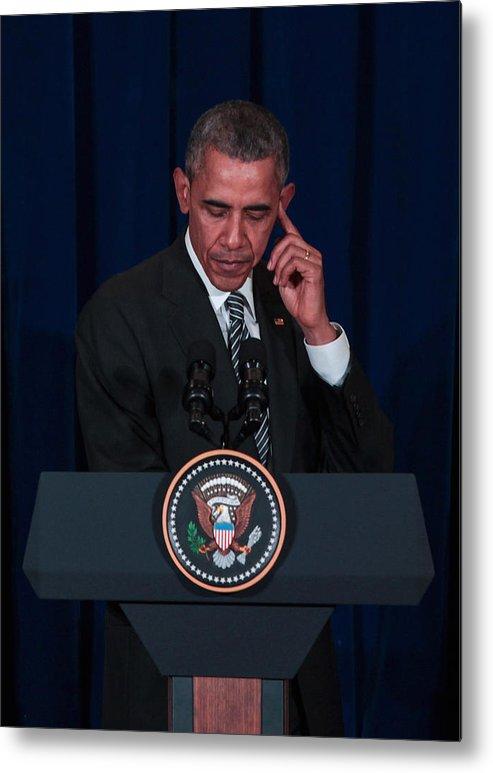 Three Quarter Length Metal Print featuring the photograph US President Barack Obama Visits Malaysia by Mohd Samsul Mohd Said