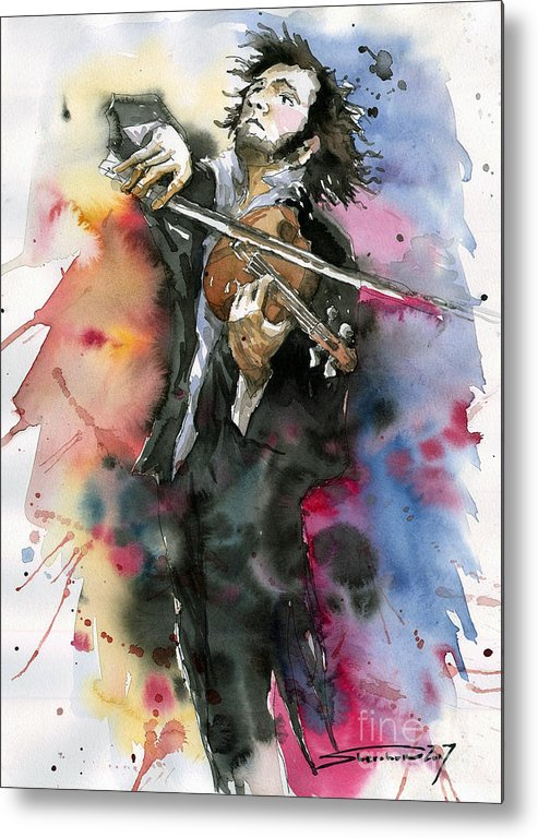 Music Metal Print featuring the painting Violine player. by Yuriy Shevchuk