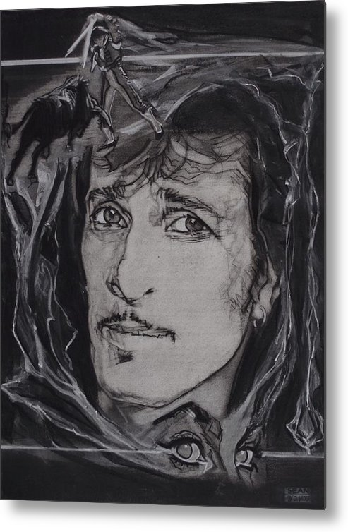 Charcoal On Paper Metal Print featuring the drawing Willy DeVille - Coup de Grace by Sean Connolly