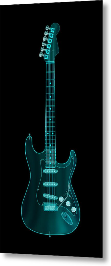 electric Guitar Metal Print featuring the digital art X-Ray Electric Guitar by Michael Tompsett