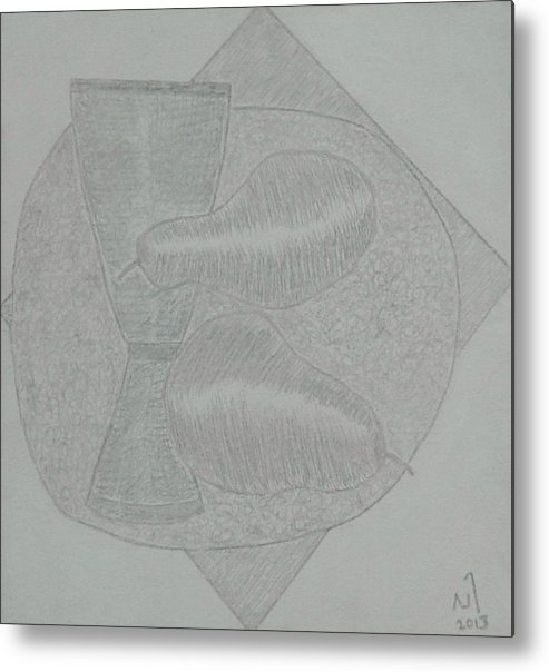 Still Life With Fruits And Glass Metal Print featuring the drawing No.403 by Vijayan Kannampilly