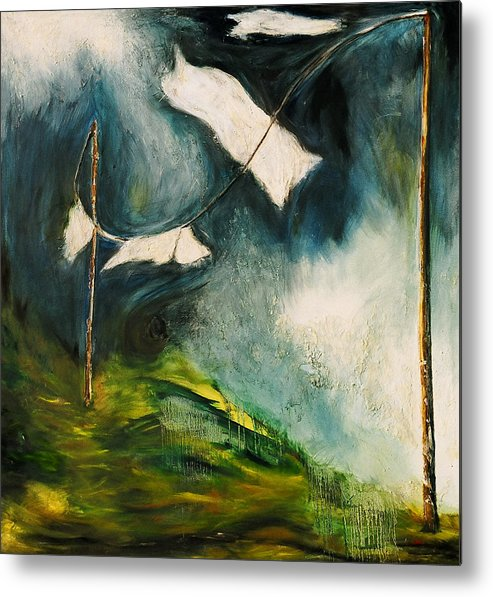 Clothesline Metal Print featuring the painting Detach by Martine Letoile