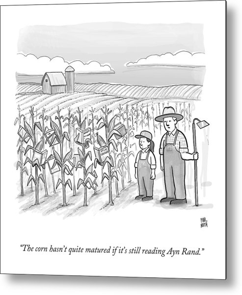 Corn Stalks Metal Print featuring the drawing A Farmer And His Daughter Look At Cornstalks Who by Paul Noth