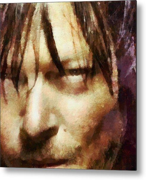 Daryl Dixon Metal Print featuring the painting Detail Of Daryl Dixon by Janice MacLellan