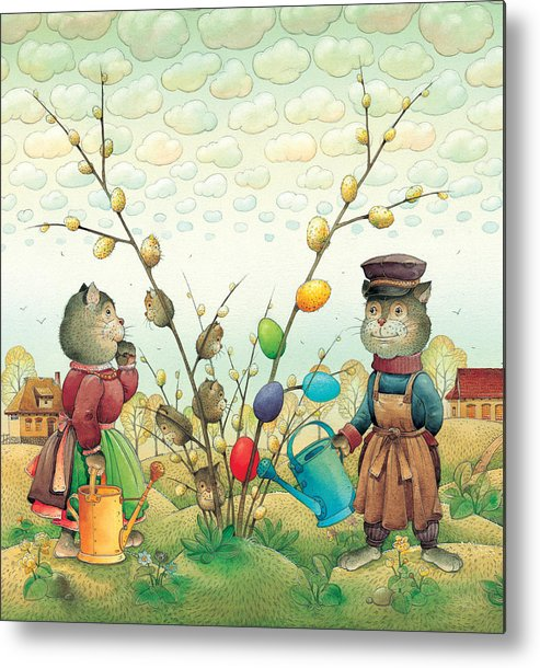 Easter Eggs Green Spring Cats Landscape Metal Print featuring the painting Eastereggs 05 by Kestutis Kasparavicius
