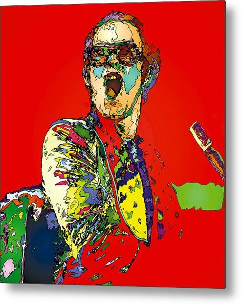 Elton John Metal Print featuring the painting Elton in Red by John Farr