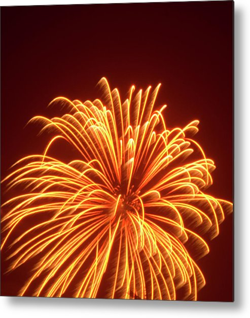 Orange Color Metal Print featuring the photograph Fireworks by Dennis Mccoleman