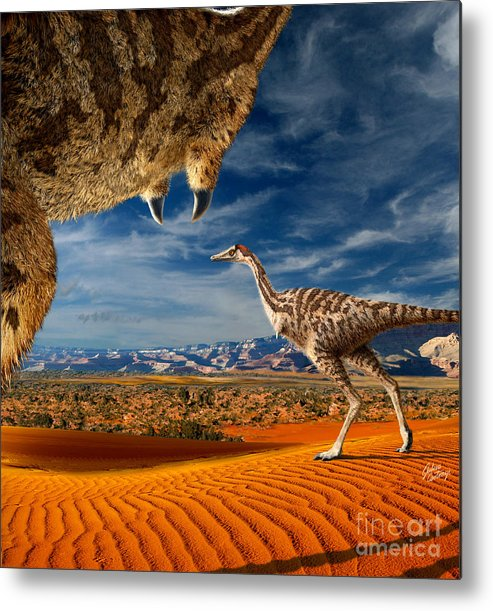 Dinosaur Digital Art Metal Print featuring the digital art Linhenykus by Julius Csotonyi