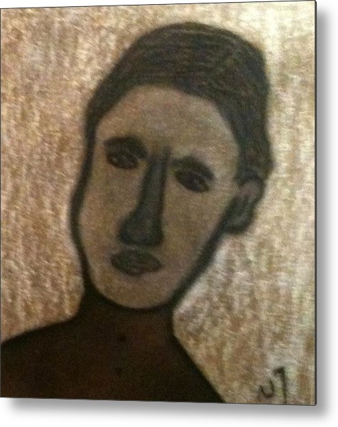 Portrait Metal Print featuring the drawing No. 410 by Vijayan Kannampilly
