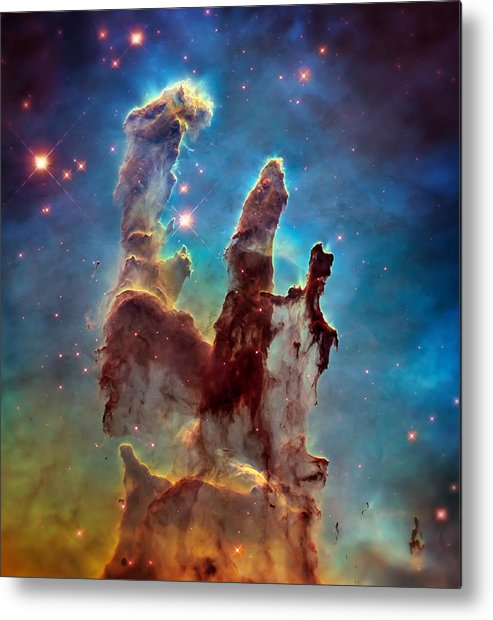 Pillars Of Creation Metal Print featuring the photograph Pillars of Creation in High Definition - Eagle Nebula by Jennifer Rondinelli Reilly - Fine Art Photography