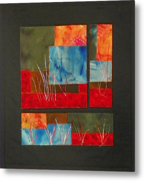 Nature Metal Print featuring the mixed media Reeds by Jenny Williams