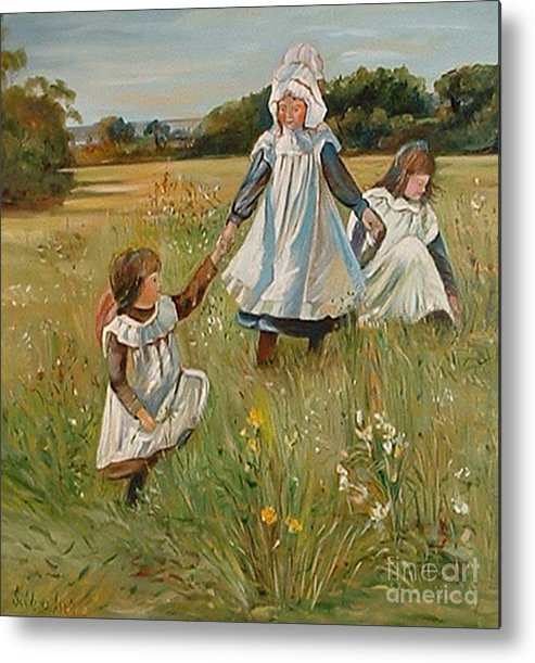 Classic Art Metal Print featuring the painting Sisters by Silvana Abel