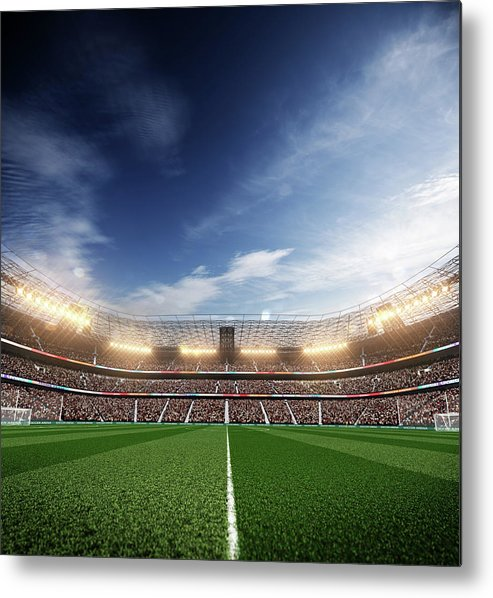 Event Metal Print featuring the photograph Soccer Stadium Blu Sky And Lights by Sarhange1