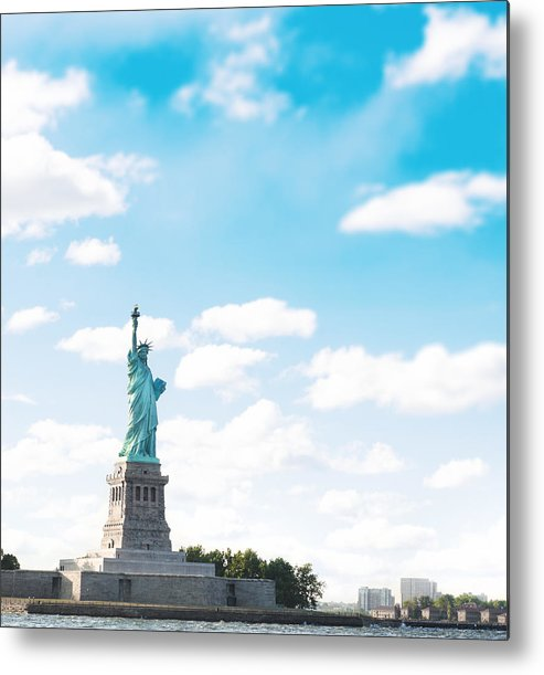 Lower Manhattan Metal Print featuring the photograph Statue Of Liberty On New York City by Franckreporter