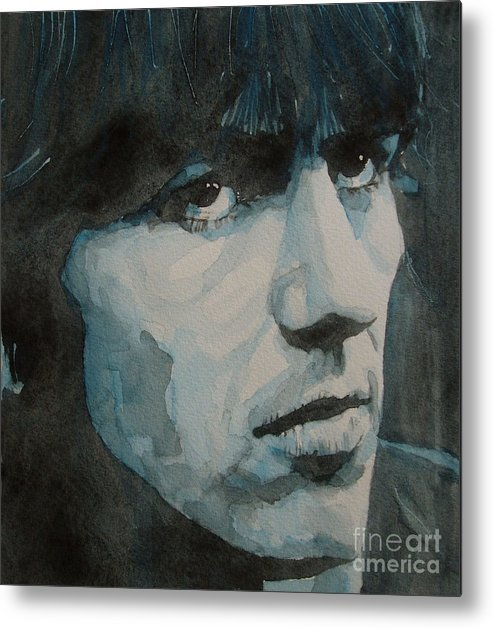 The Beatles Metal Print featuring the painting The quiet one by Paul Lovering