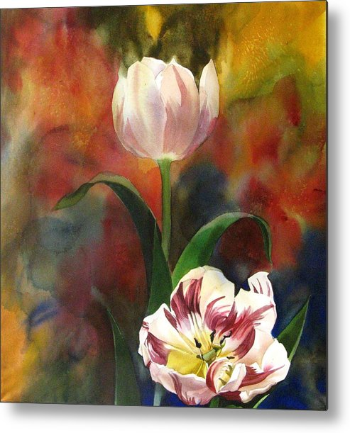 Nature Metal Print featuring the painting Tulip Abstraction by Alfred Ng