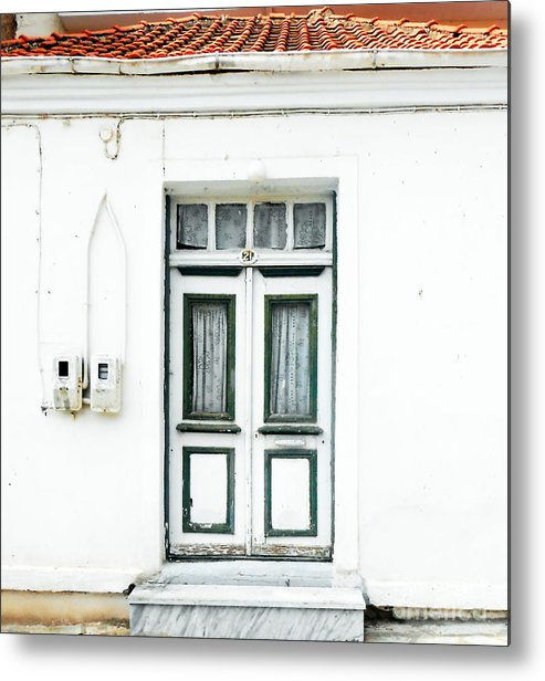 Door Metal Print featuring the photograph White And Green Door by Ioanna Papanikolaou