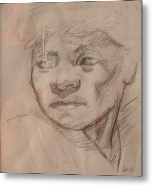Portrait Metal Print featuring the drawing Face by Victor Amor