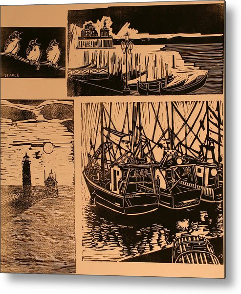Metal Print featuring the print Composite of four woodcuts by Biagio Civale