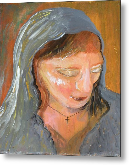 Angel Metal Print featuring the painting Cross for Maria by J Bauer