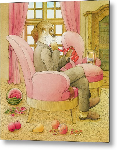 Dog Life Lifestyle Room Apartments Armchair Red Illustration Children Book Drawing Suit Metal Print featuring the painting Dogs Life09 by Kestutis Kasparavicius