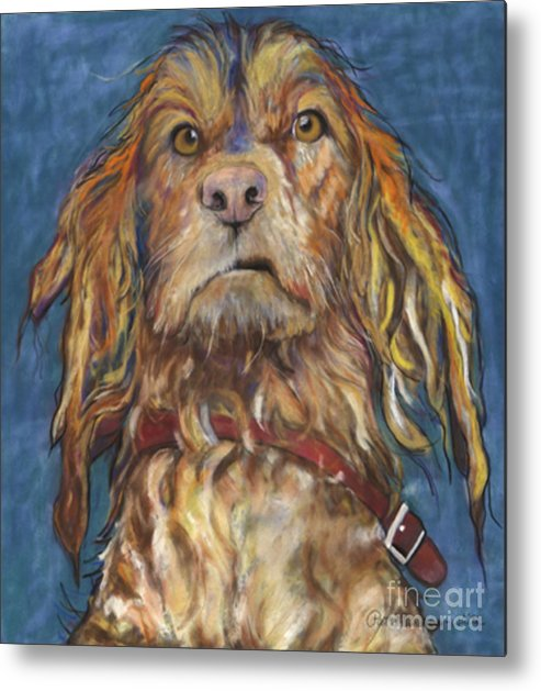 Golden Retriever Painting Metal Print featuring the pastel Drenched by Pat Saunders-White