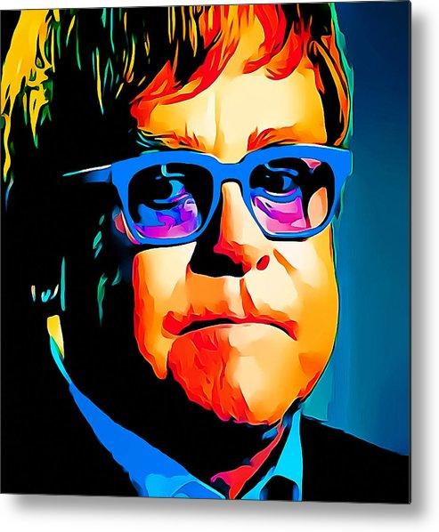 Elton Metal Print featuring the digital art Elton John Blue Eyes Portrait by Yury Malkov