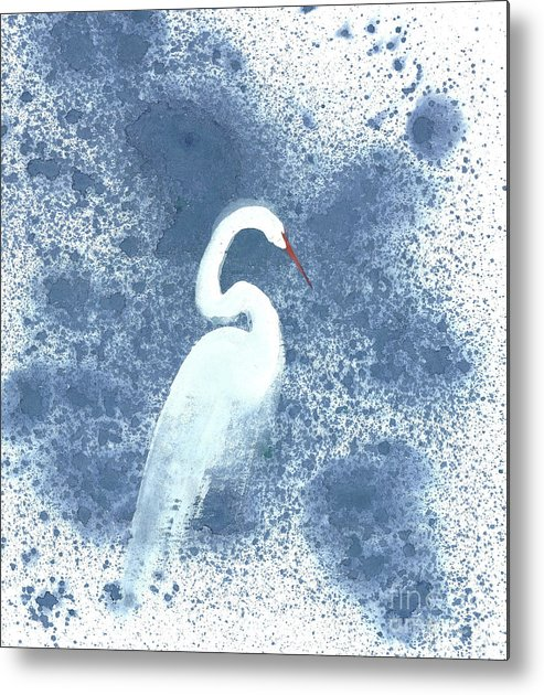 A White Crane Standing Motionless At Night Metal Print featuring the painting Entranced by Mui-Joo Wee