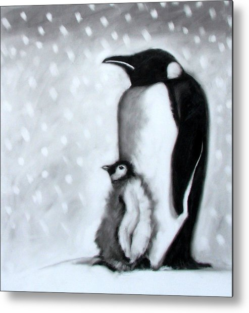 Penguin Metal Print featuring the painting Father And Son by Paul Powis
