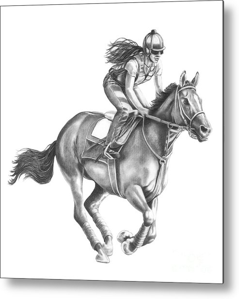 Horse Metal Print featuring the drawing Full Gallop by Murphy Elliott